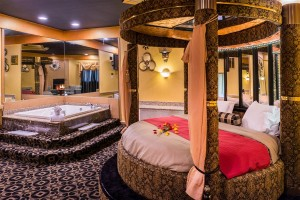 Black & Gold Theme Suite With Hot Tub And Fireplace